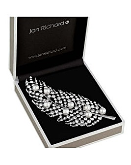 Jon Richard crystal leaf brooch