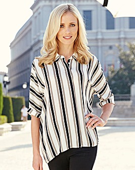 Black/Stone Split Back Stripe Shirt