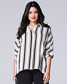 Black/Stone Split Back Stripe Shirt