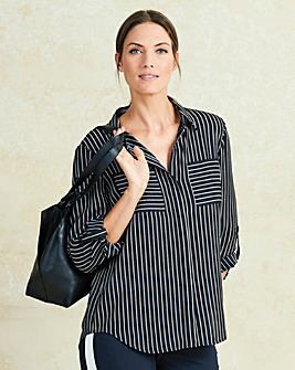 Black/White Long Sleeve Stripe Shirt