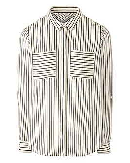 White/Black Long Sleeve Stripe Shirt