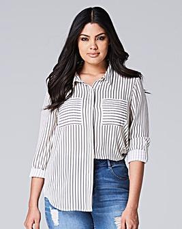 White/Black Long Sleeve Stripe Shirt