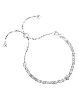 Simply silver pave heart bracelet