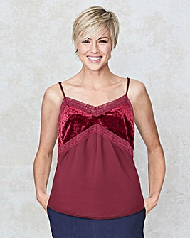 Cherry Crushed Velour Cami
