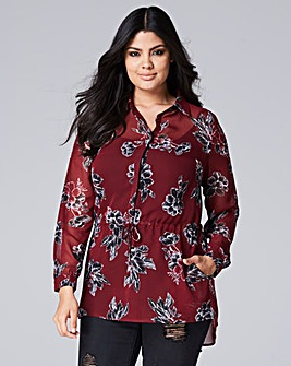 Berry Longline Shirt Drawstring Waist