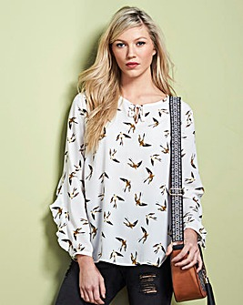 Bird Ruffle Sleeve Blouse With Tie Neck