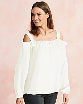 Long Sleeve Ruffle Cold Shoulder Blouse