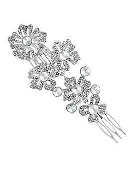 Mood silver ornate flower hair comb