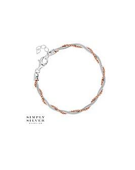 Simply Silver multi tone twist bracelet