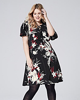 Black/Red Floral Tea Dress