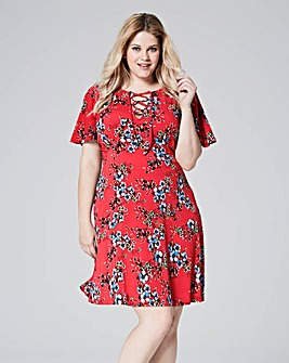 Red Floral Tea Dress