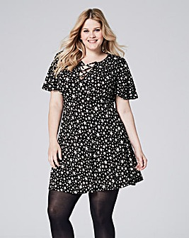 Black/White Star Print Tea Dress