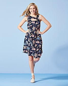 Navy Butterfly Print Swing Dress