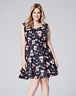 Pink/Black Scuba Sweetheart Skater Dress