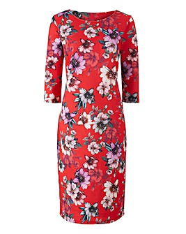 Red Floral Scuba Print Bodycon Dress