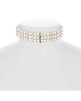 Jon Richard triple pearl choker necklace