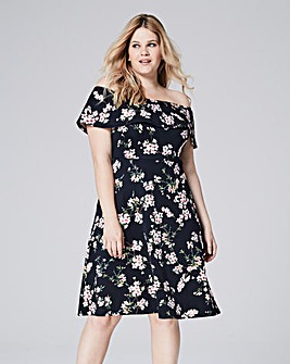 Pink Floral Bardot Skater Dress