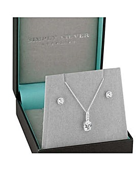 Simply Silver oval stick jewellery set