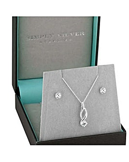 Simply Silver swirl jewellery set