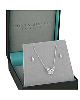 Simply Silver butterfly jewellery set