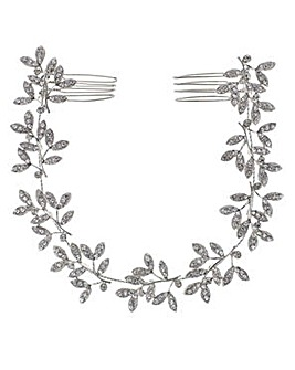Mood crystal leaf double hair comb