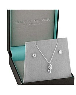 Simply Silver double swirl jewellery set
