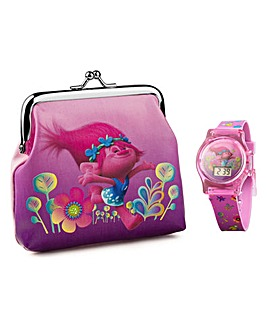 TROLLS LCD WATCH & PURSE SET
