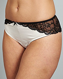 Kara Satin Lace Brazilian Briefs Blk/Blu