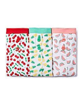 3 Pack Fruit Print Boxer Shorts