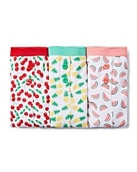 3 Pack Fruit Print Boxer Shorts