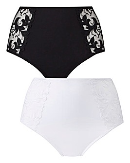 2 Pack Flora Full Fit Black/White Briefs
