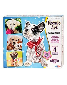 Mosaic Art Playful Puppies