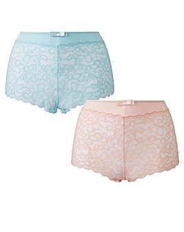 2 Pack Lottie Lace Mint/Blush Briefs