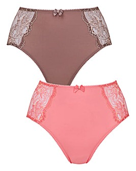 2 Pack Ella Lace Mocha/Rose Briefs