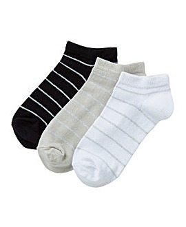3 Pack Lurex Stripe Trainer Socks