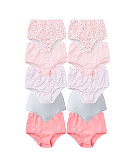 10 Pack Full Fit Pink Butterfly Briefs