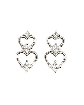 Espree Silver Double Heart Drop Earrings