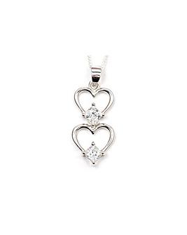 Espree Silver Double Heart Drop Pendant