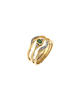 9ct Emerald and Diamond Stacker Ring
