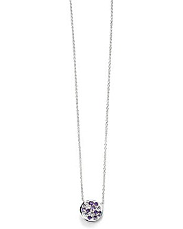 Purple Cubic Zirconia Disc Necklace