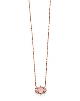 Rose Quartz & Cubic Zirconia Necklace