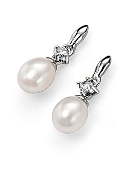 White Pearl Earring & Cubic Zirconia
