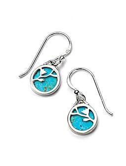 Turquoise Flower Disc Earrings
