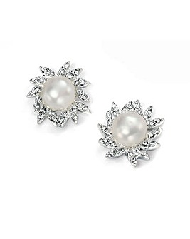 Cubic Zirconia & Pearl Cluster Earring