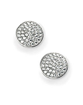 Cubic Zirconia Pave Disc Earring
