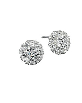 Cubic Zirconia Cluster Stud Earrings