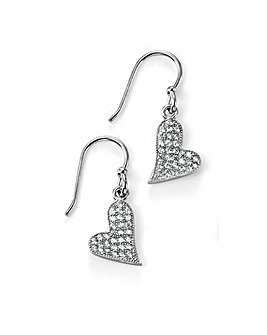 Cubic Zirconia Pave Heart Drop Earring