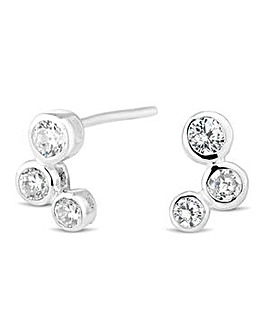 Simply Silver Triple Bubble Stud Earring