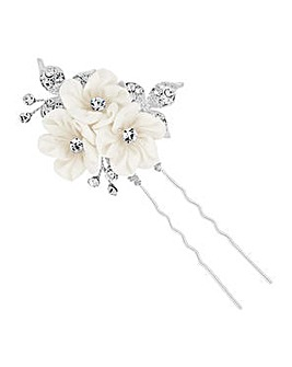 Alan Hannah Triple Silk Flower Hair Pin