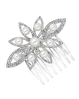 Jon Richard Pearl Diamante Hair Comb